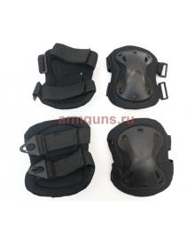 Комплект наколенники и налокотники  цвет Черные (Black)