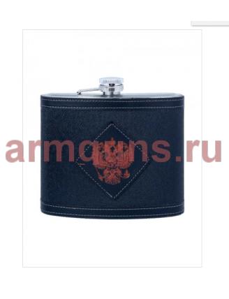 Нержавеющая фляжка  c чехлом, подарочная, Герб РФ  0,95 литра, 32 Oz