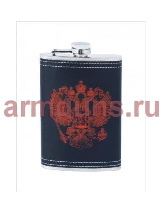 """Нержавеющая фляжка  подарочная, """"Герб РФ"""",  0,27 литра"""