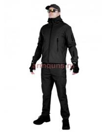 Тактический костюм мужской софтшелл (Softshell) Tactical Gear, до -10С, цвет Черный (Black)